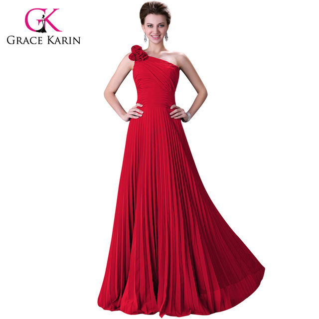 2018 Grace Karin Blue/Red /Green/Purple One Shoulder Long Prom ...