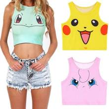 New Cartoon Pattern Crop Top Women Camis Pikachu Charmander Squirtle Print tank tops Colorful sleeveless Tee Vest(China)