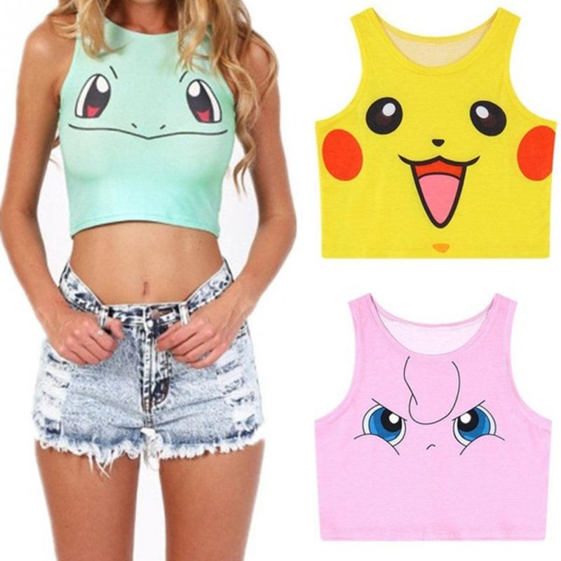 New Cartoon Pattern Crop   Top   Women Camis Pikachu Charmander Squirtle Print   tank     tops   Colorful sleeveless Tee Vest