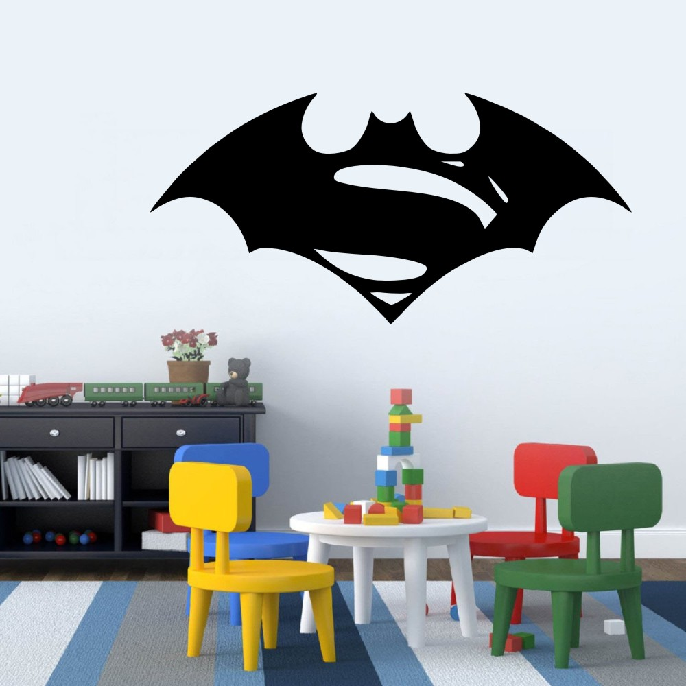 Batman vs superman symbol wall decor decal for kids playroom batman vs superman symbol wall decor decal for kids playroom office dorm home decor large vinyl art decal car sticker decal in wall stickers from home amipublicfo Image collections