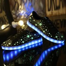 2016 New 7 Colors LED Shoes Luminous Lovers Fashion Men Women USB Light Up Shoes for Adults Glowing Flats Men Shoes