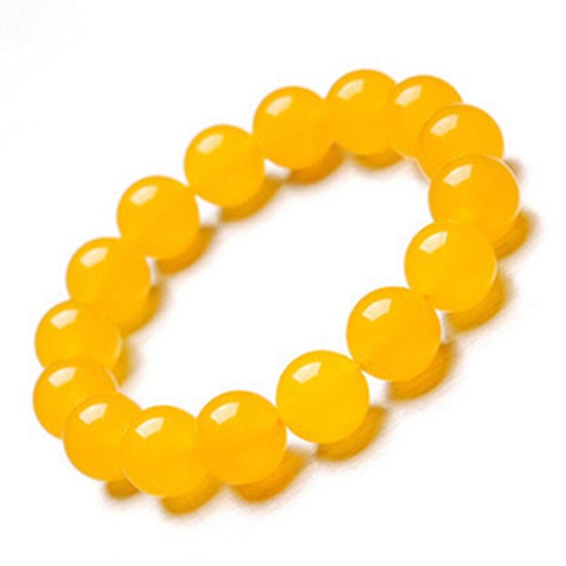 New Arrival Natural Yellow Jadeite 14MM Beads Bracelet Elastic Line Bracelet
