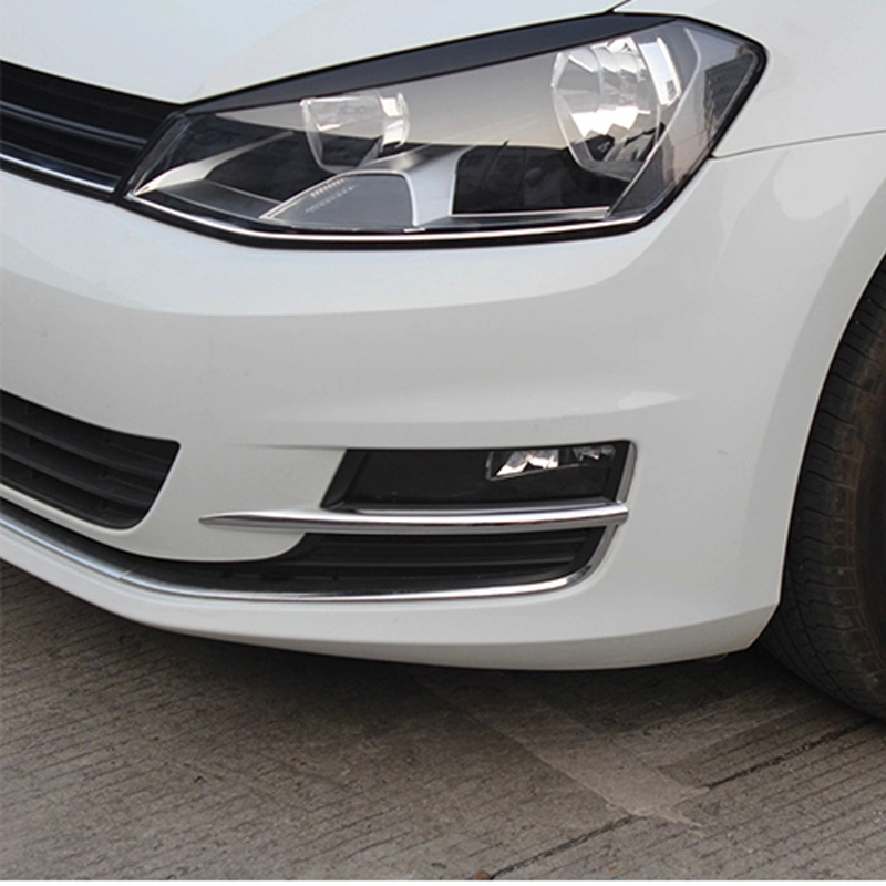 Free Shipping High Quality ABS Chrome Front Fog lamps cover Trim Fog lamp shade Trim For Volkswagen VW Golf 7 MK7 high quality chrome tail light cover for mitsubishi l200 triton free shipping