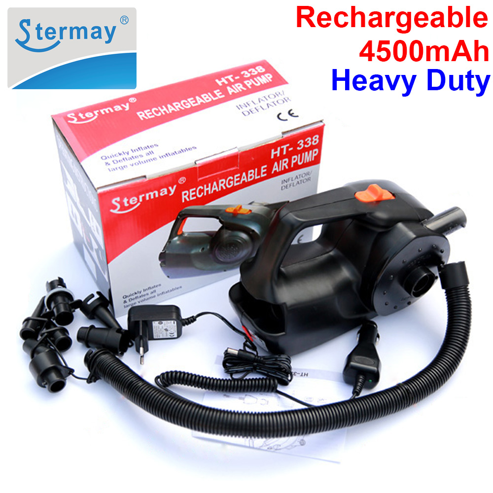 Stermay HT 338 rechargeable pump electric inflatable air pump for inflatable Boat Kayak air bed mattress