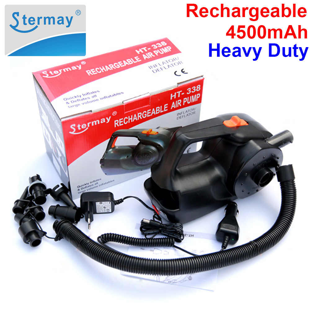 Stermay HT-338 rechargeable pump electric inflatable air pump for inflatable Boat Kayak air bed mattress High power AC/car 12V