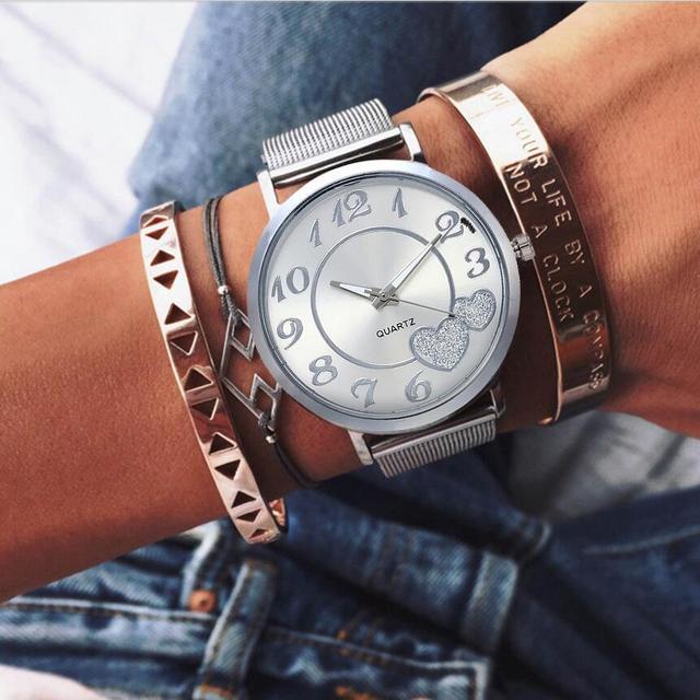 Dropshipping Women Silver & Gold Mesh Love Heart Dial Wristwatches Fashion Casual Women's Steel Quartz Watches Relogio Feminino  3