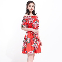 Chic women's off shoulder dress 2019 summer runays floral print sweet dress A312