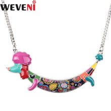 WEVENI Statement Unique Sticker Body Enamel Poodle Dog Choker Necklaces Pendants Collar Chain New Fashion Jewelry For Women(China)