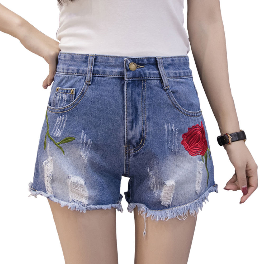 Women Denim shorts female summer 2017 mid waist embroidery burr straight jeans fashion Women Short Jeans