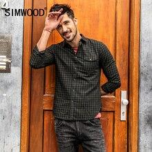 Simwood осень 2017 г. Новый Рубашки в клетку Для мужчин с длинным рукавом Slim Fit импортные Костюмы 100% натуральный хлопок Высокое качество, Большие размеры CC017014