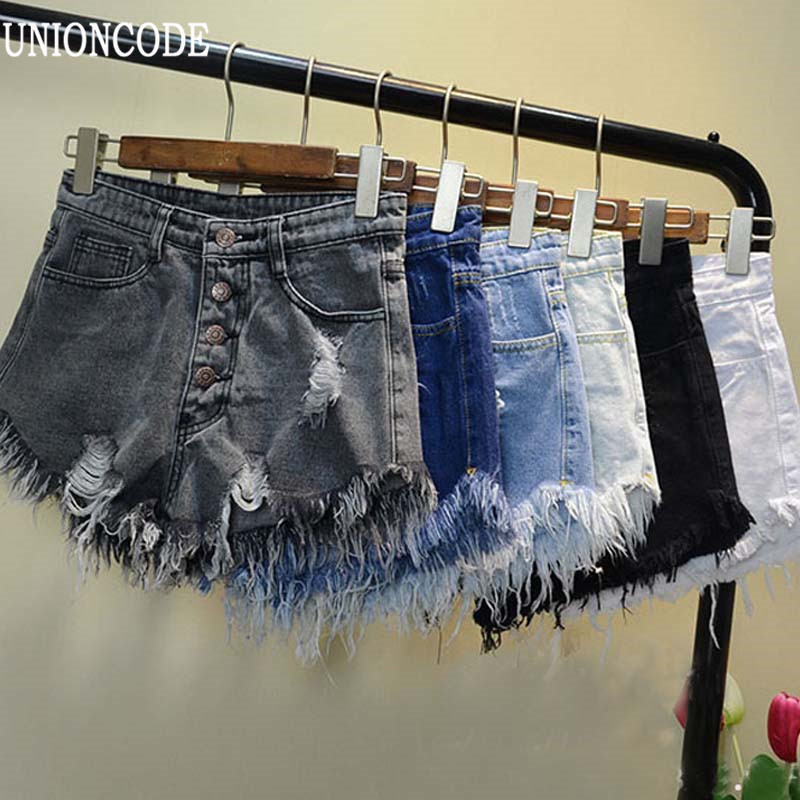 2016 European And American BF Summer Wind Female Blue High Waist Denim Shorts Women Worn Loose