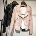 2017 rosa preto primavera outono Mulheres Jaqueta de Couro Da Motocicleta Fino Casaco Casuais Pu Macio Faux locomotiva casaco de couro outerwear