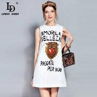 LD LINDA DELLA Runway Summer Dress Women's Sleeveless Tank Casual White Letter Sequined Crystal Beading Print Mini Short Dress