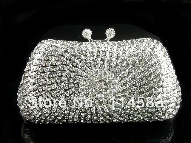 #8206 Crystal Flower Floral Bridal Party Silver hollow Metal Evening purse clutch bag handbag case