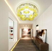5 W Rodada mordern led luz de teto do corredor de cristal iluminação de teto lâmpada do teto de cristal de luxo frete grátis