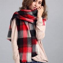 New Cashmere Scarf Winter Plaid Designer Tartan Blanket Unisex Acrylic Wrap Unisex Acrylic Basic Shawls Pashmina