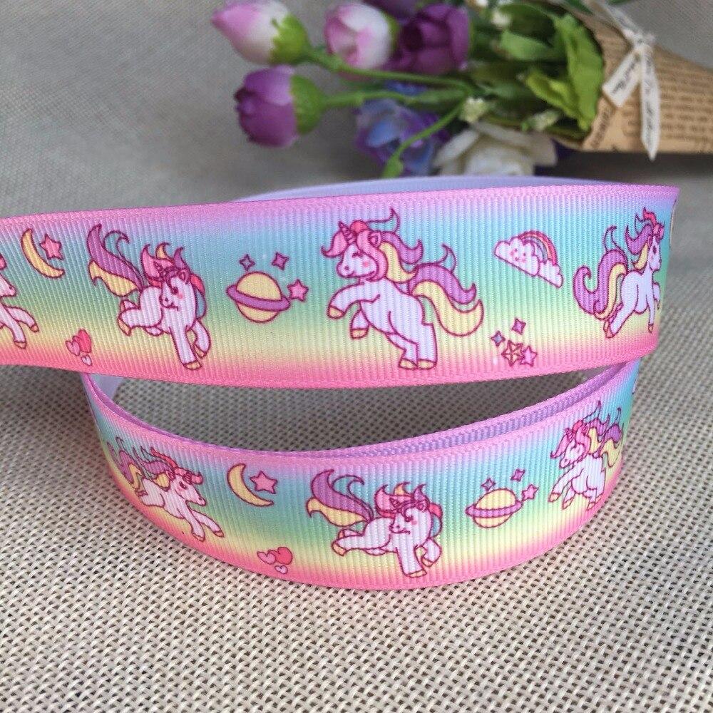 1 «25 мм Kawaii Бесплатная доставка милые Rainbow Unicorn животные с печатным рисунком корсажная лента DIY материалы ручной работы 9666