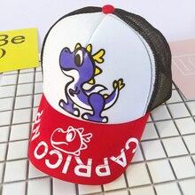 Historieta del dinosaurio de los niños moda unisex béisbol Golf malla  SnapBack sombrero vintage Niños Niñas gorras hip-hop gorra. 9b116150d39