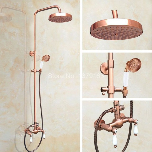 Antique Red Copper Brass Wall Mounted Bathroom Rain Shower Faucet