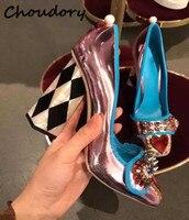 Choudory/Новый стиль чистая красная звезда женские туфли лодочки Diamond Квадратный носок Перл кисточкой на высоком каблуке Обувь розовое сердце З