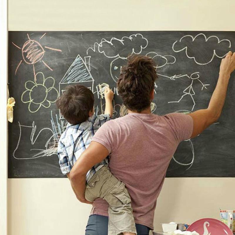 45*200cm Large Black Board Sticker Chalk Board Stickers Removable Black Wall Board Krijtbord Pizarra Kids Office School Supplies