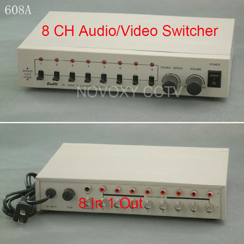 Free Shipping 8 In 1 Out Composite BNC Video Audio Switcher For CCTV Security System 2016 new 8 ports 2output composite 3 rca video audio av switch switcher box selector 8 in1 out 8x1 8in 2out 8x2 for hdtv lcd dvd