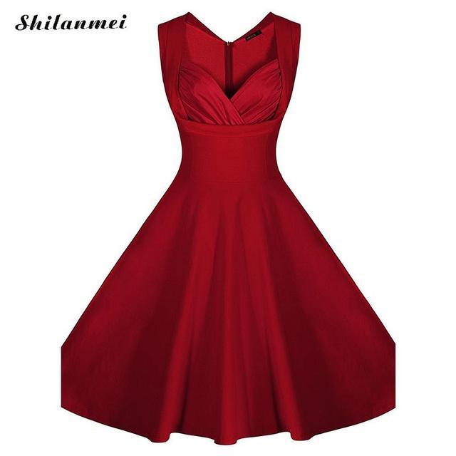 2018 Women Ruffled V Neck Vintage Dress Cocktail Party Pleated Swing 1930s  Dress vestido de festa rockabilly A-line retro dress fe85ef471092