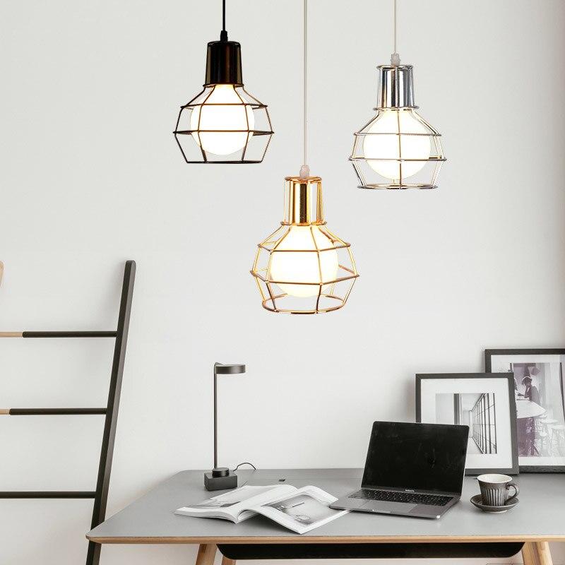 Vintage fer lustre creative unique-tête Edison lustre loft industriel bar à vin petit fer cage lampes