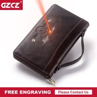 GZCZ Free Engraving Male Clutch Vintage Genuine Leather Wallet Men High Quality Long Zipper Purse Cell Phone Pocket Money Bag