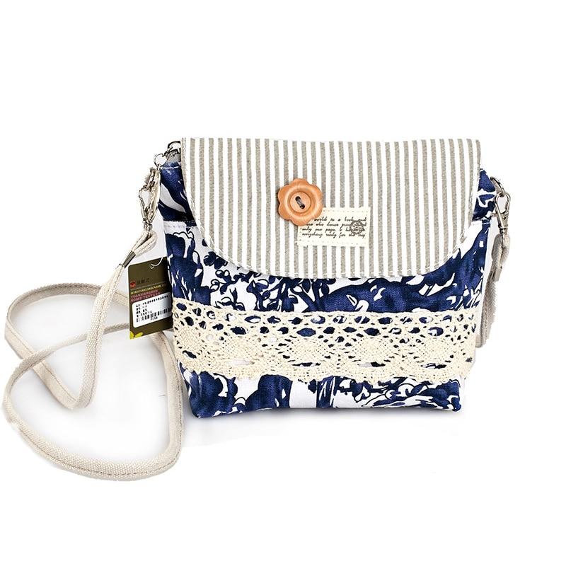 QZH Women Mini Messenger Bags Flap Bag Lady Fresh Style Canvas - Պայուսակներ - Լուսանկար 2