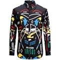 2017 Nuevos Hombres Euro Historieta Impresa Camisa Moda Casual Diseñador de la Marca Camisa Masculina Camisas Geométricas VT0155