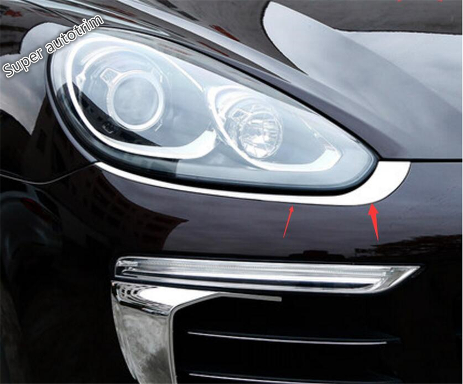 Accessories For Porsche Cayenne 2015 2016 2017 Stainless Steel Front Headlight Lamp Light Eyebrow Cover Trim 2 Piece / Set 2 piece 2015