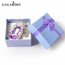 New Best Gift Sofias Amulet Princess Stainless Steel Necklace Purple Rhinestone Oval Tear Drop Bridesmaid Necklace with Gift Box