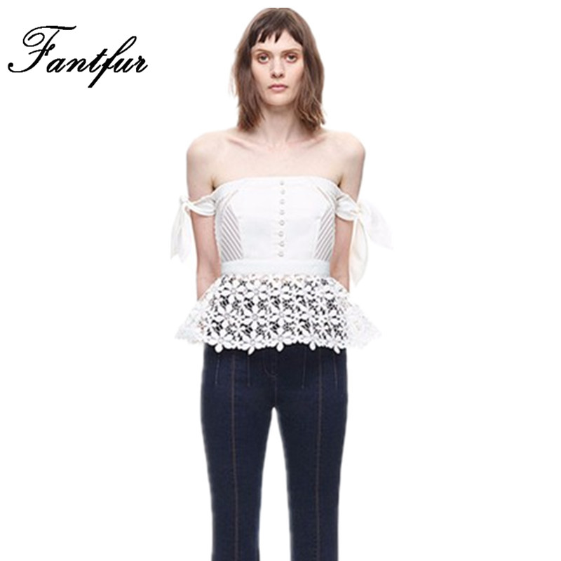 Self Portrait Runway Lace Blouse Corset Top With Peplum Women Foral Crochet Hollow Out Backless Tunic Blouses With Off Shoulder