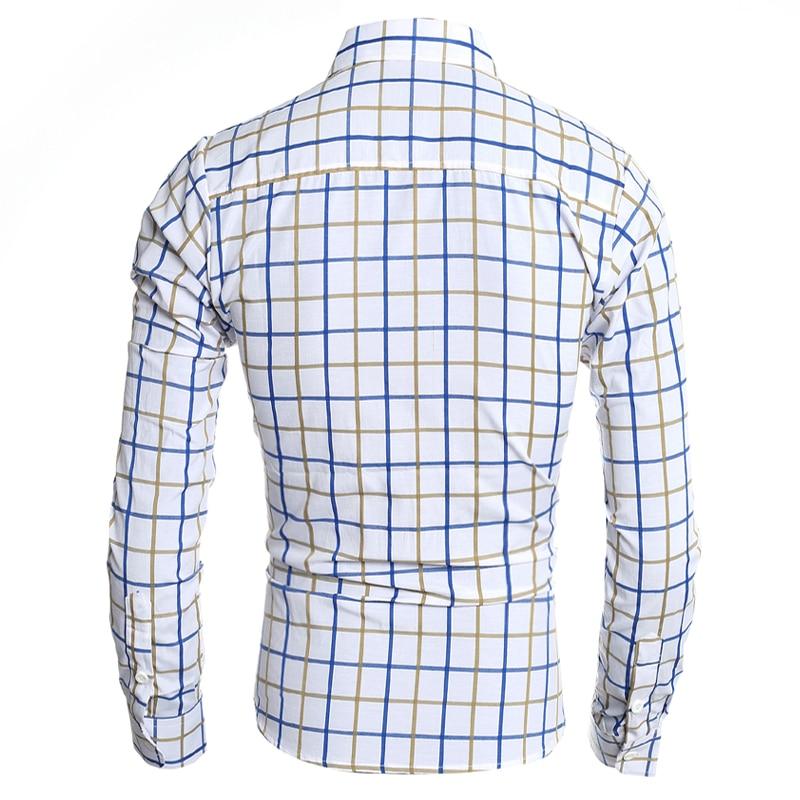 T-Bird 2018 Märke Mans Långärmad Mode Skjortor Casual Man Slim Fit - Herrkläder - Foto 3