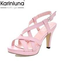 KARINLUNA Big Size32-43 Fashion Women Gladiator Sandals Cross Strap Spiked High Heels Summer Open Toe Platform Shoes Woman