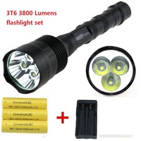 3T6 TrustFire 3800 Lumen Tactical Flashlight Torch 3x Cree XM L T6 LED Hunting Lanterna + remote switch+18650 Battery