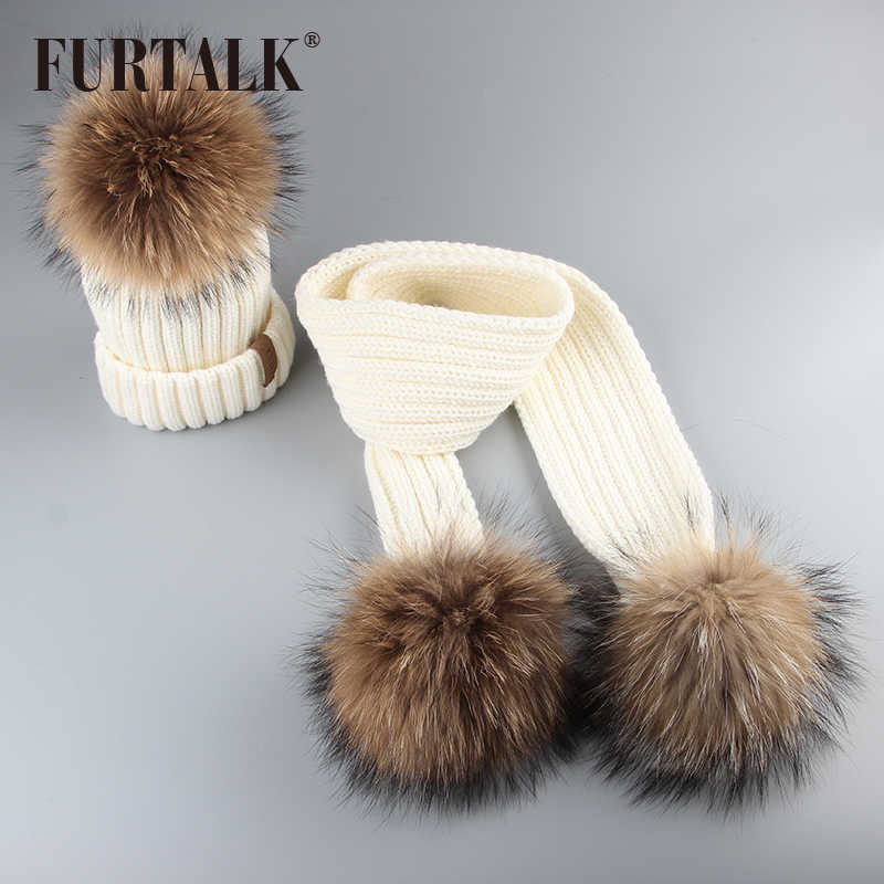 246ec22c421421 ... FURTALK Kids Ages 2-7 Winter Baby Real Fur Pompom Hat Scarf Set Knit  Beanie ...