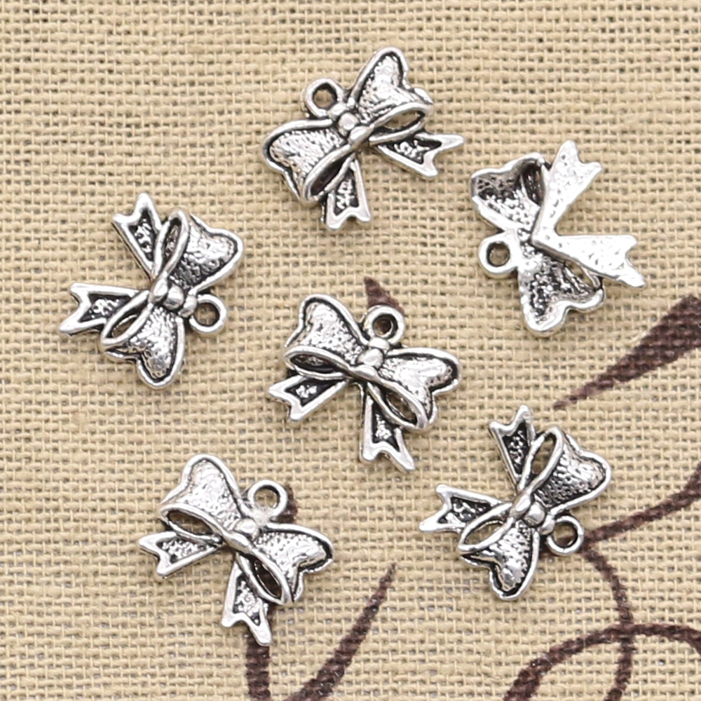 50pcs Charms Bowknot Bow 11x10mm Antique Silver Pendants DIY Necklace Crafts Making Findings Handmade Tibetan Jewelry
