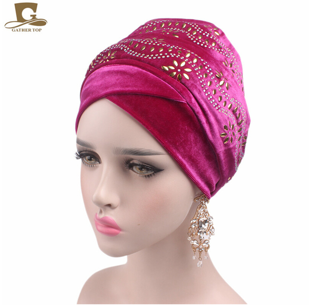New women Luxury elegant Embellished flower nigerian velvet turban Extra  Long Head Wrap Lady Headscarf Women f505c8012e96