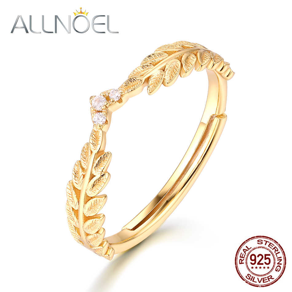 ALLNOEL Real 925 Sterling Silver Zircon Ring For Women Olive Leaf Stone Jewelry Anniversary Engagement Customized Fine Jewelry