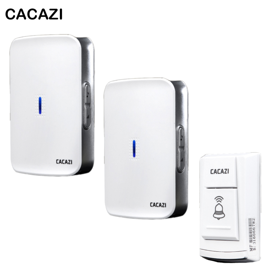 CACAZI DC wireless doorbell need battery 150M remote waterproof gate Door bell chime ring Wireless 36 Tunes 1 emitter 2 Receiver  cacazi dc wireless doorbell need battery 150m remote waterproof gate door bell chime ring wireless 36 tunes 1 emitter 2 receiver