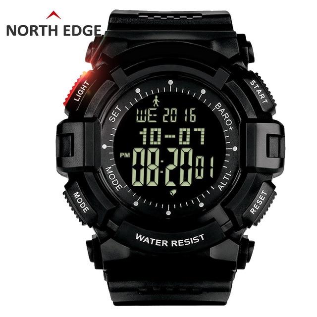 NORTHEDGE digital watches Men hours watch men's outdoor clock fishing weather Altimeter Barometer Thermometer Pedometer  shock