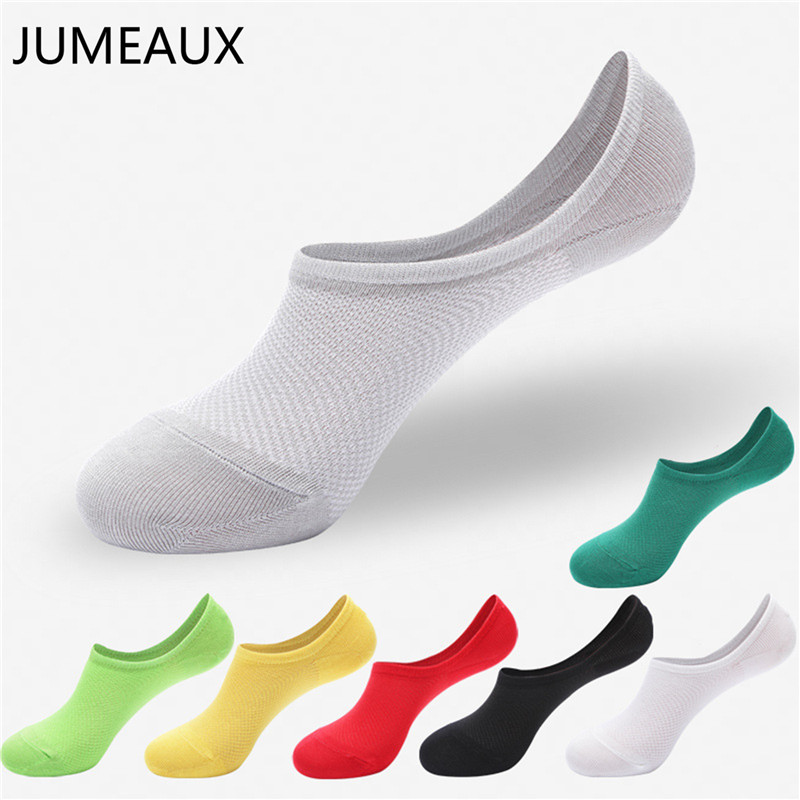 JUMEAUX 5 Pairs Summer Cotton Socks Men Invisible Boat Socks Silicone Slip Shallow Mouth Breathable Mesh Summer Thin Socks Lot