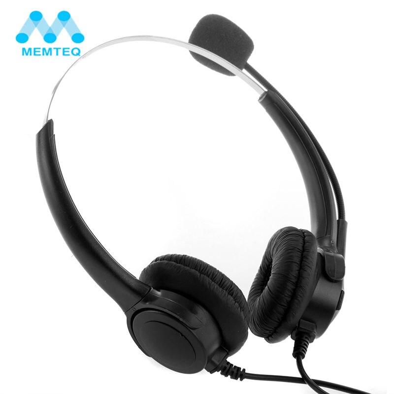 MEMTEQ Broches RJ11 Appel Center Téléphone Mono Filaire Casque Antibruit Casque Microphone Écouteur