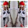 Hot meninas conjunto de roupas de moda menina glitter panda listrado leggings AB 2 pcs. Roupas de algodão terno