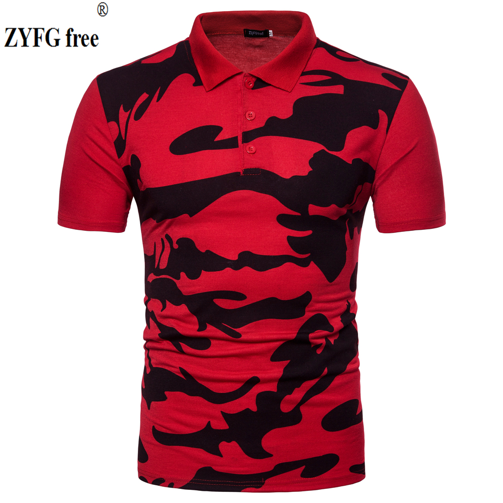 2018 New summer style   polo   shirt men Urban fashion short sleeved Personality printing pattern men's slim   Polo   shirt EU/US size