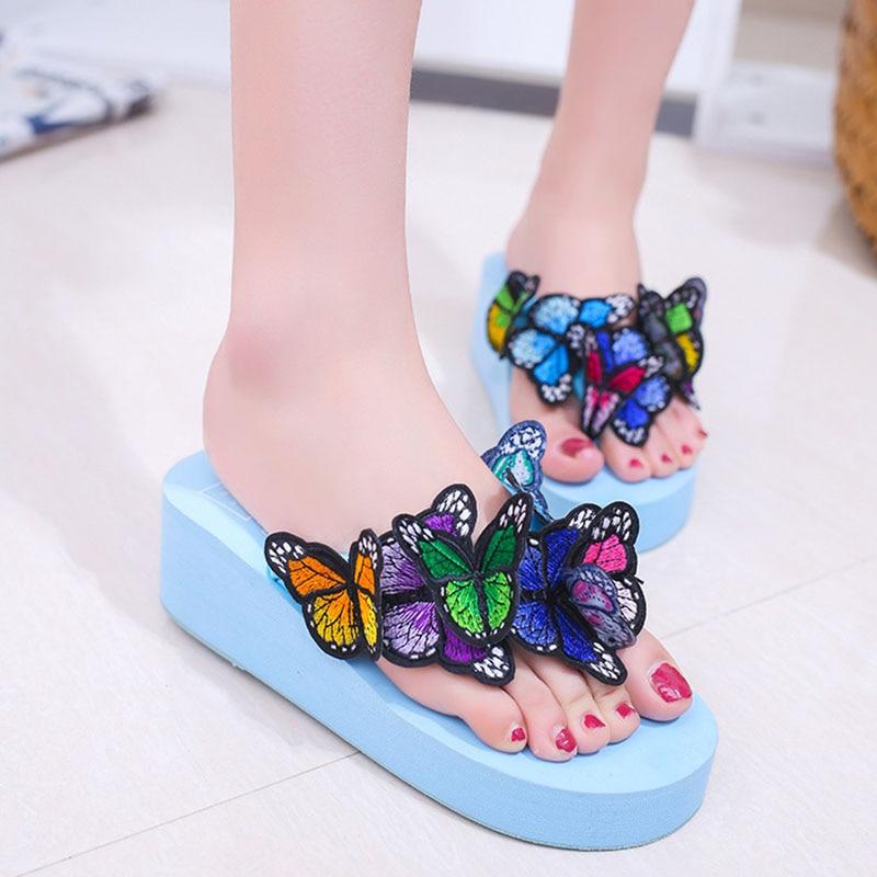 7554a6ecd80f AShwin butterfly wedge platform sandals woman shoes flip flops summer  casual thong slippers fancy shoes hawaiian sandal seaside -in Flip Flops  from Shoes on ...