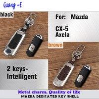 Car styling couverture en cuir + en alliage de Zinc Métal clés sac cas clé chaîne Portefeuille Intelligent frame panneau lampe 1 pcs pour Mazda CX-5 Axela