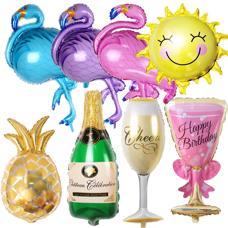 Birthday Balloons Flamingo/Pineapple/Beercup Foil Balloon Birthday Decoration Kids Adult Party Beach Party Helium Air Globos